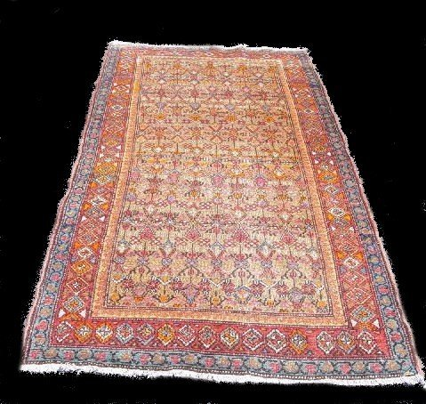 436: ORIENTAL RUG. Mousul. Red and blue borders, tan gr