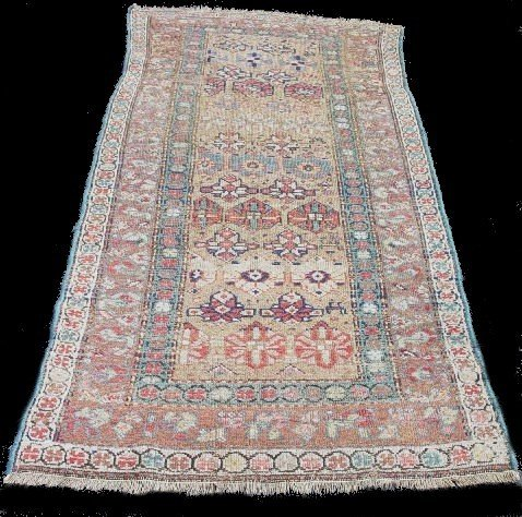 438: ORIENTAL RUG. Mousul. Light tan, blue and ivory bo