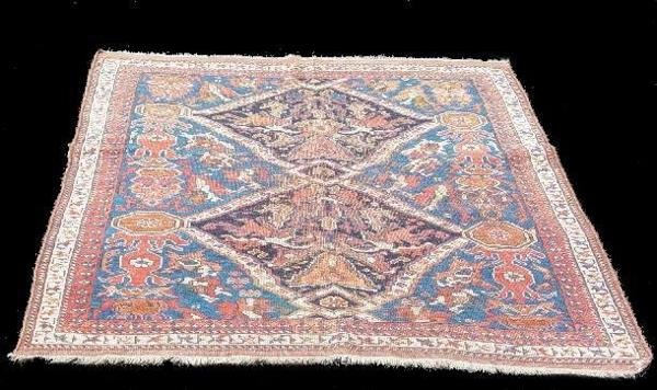 440: ORIENTAL RUG. Afshar. Salmon and ivory borders wit