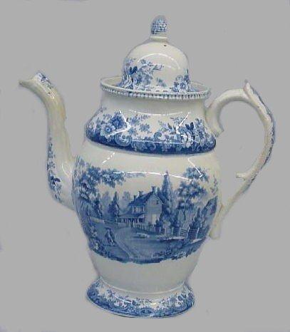 444: HISTORICAL STAFFORDSHIRE COFFEE POT. Medium blue t