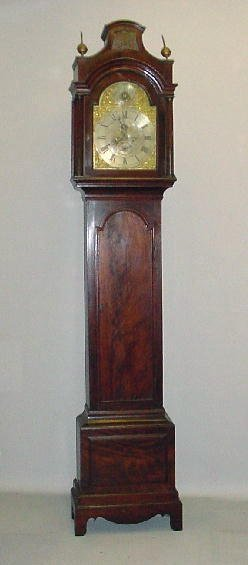 528: CHIPPENDALE TALL CASE CLOCK. Mahogany with old ref
