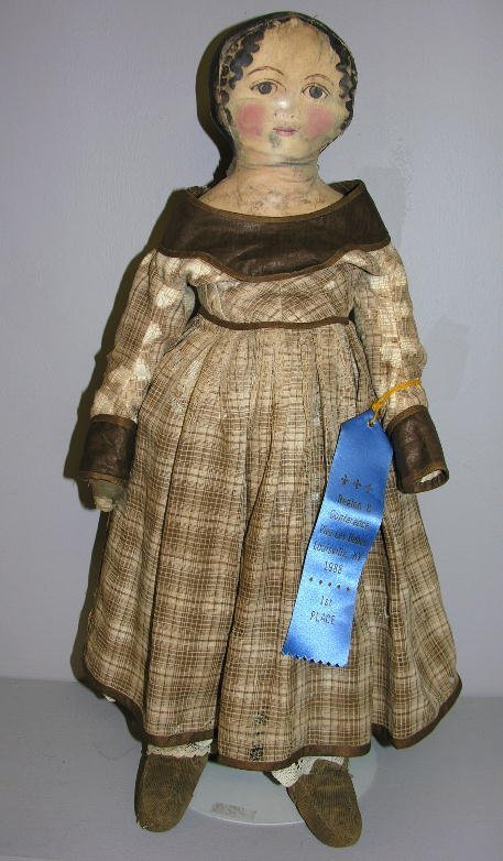 """2: OIL PAINTED CLOTH DOLL, 26"""". Four seam gusseted head"""