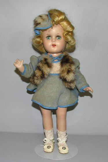 """15: UNMARKED COMPOSITION GIRL, 13"""". Blond mohair wig in"""