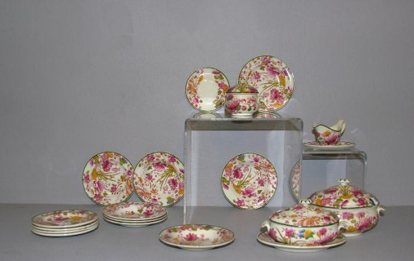 """21: TWO SETS DOLL DISHES. Shown is Wedgwood marked """"Etr"""