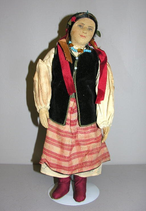 """24: RUSSIAN CLOTH DOLL, 15"""". No visible marks. Molded s"""