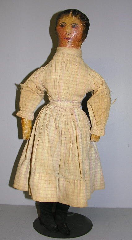 """95: OIL PAINTED CLOTH DOLL, 23"""". Head, arms, torso and"""