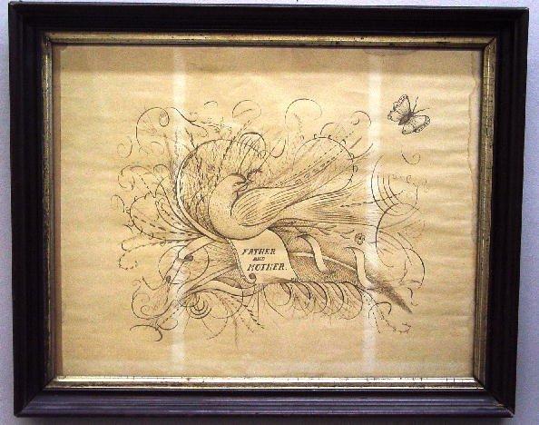 1: SPENCERIAN DRAWING. Elaborate ink drawing