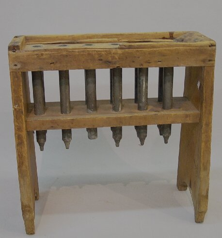 8: EARLY TWELVE-TUBE CANDLE MOLD. Dovetailed