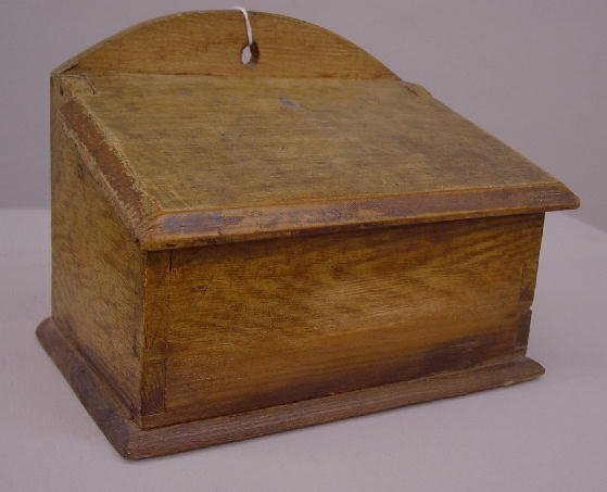 14: DECORATED HANGING SALT BOX. Old brown ove