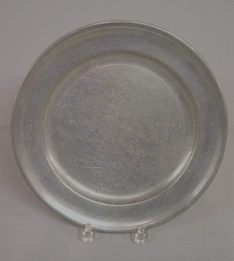 """17: PEWTER PLATE. Partial touchmarks for """"Jac"""