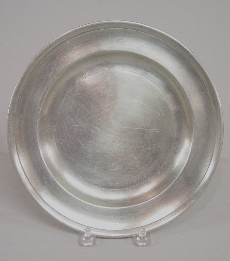 """19: PEWTER PLATE. Partial Lovebird, """"London"""""""
