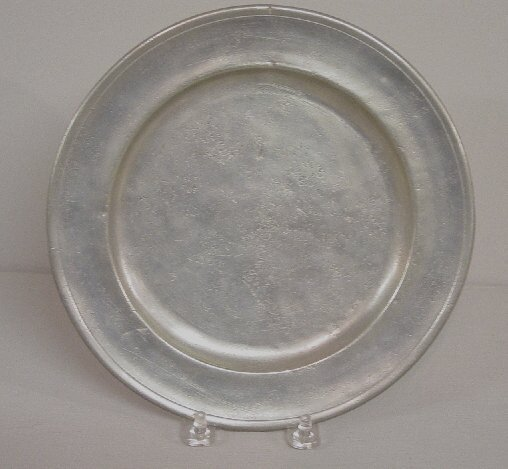 22: PEWTER PLATE. Two partial touchmarks for