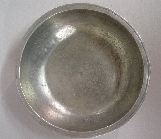 """24: PEWTER BASIN. Faint, partial touch for """"J"""
