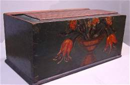 159: DECORATED SLIDE LID BOX. Pine with well-