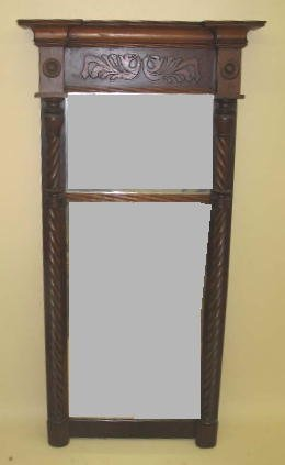 1005: FEDERAL MIRROR. Walnut and mahogany veneer with o