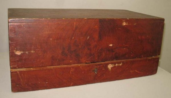 1008: DECORATED TRAVELING DESK. Birch with original red