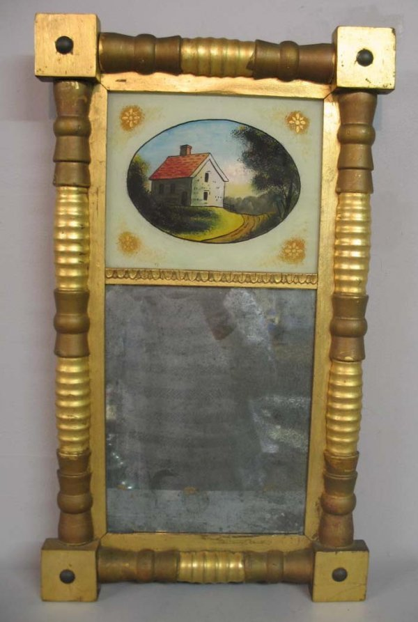 1018: REVERSE PAINTED MIRROR. Applied half turnings and