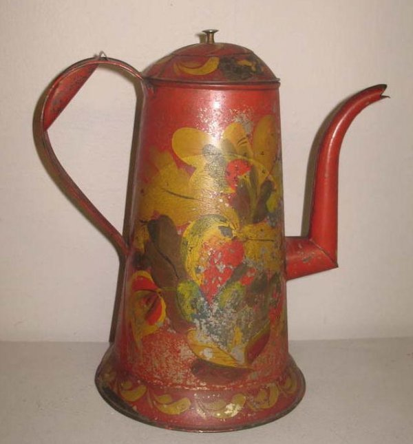 1019: RED TOLE COFFEE POT. Original floral decoration w