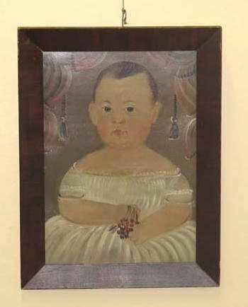 1122: PORTRAIT PAINTING ATTRIBUTED TO PRIOR. Baby holdi
