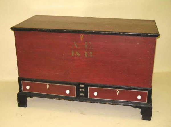 1428: PAINTED BLANKET CHEST. Soap Hollow attribution an