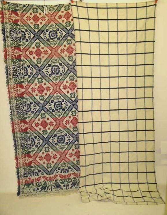 1430: TWO BEDCOVERINGS. OHIO JACQUARD COVERLET. Signed