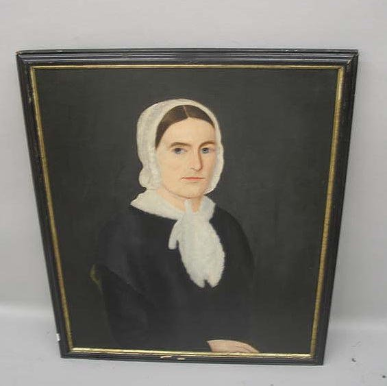 1437: OIL ON CANVAS PAINTING. Portrait of a woman weari