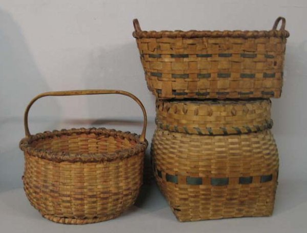 1443: THREE BASKETS. Woven splint with colored bands. T