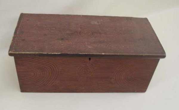 1446: PAINTED CHEST. Six-board pine box decorated with