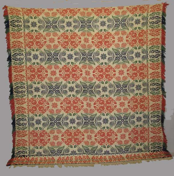 1451: JACQUARD COVERLET. Red, green and blue wool with