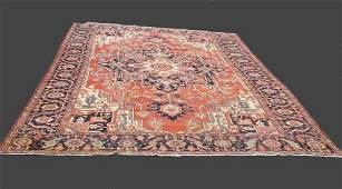 1511: ORIENTAL RUG. Room size antique Heriz. Dark blue