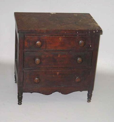 1656: CHILD'S SHERATON CHEST OF DRAWERS. Cherry and pin