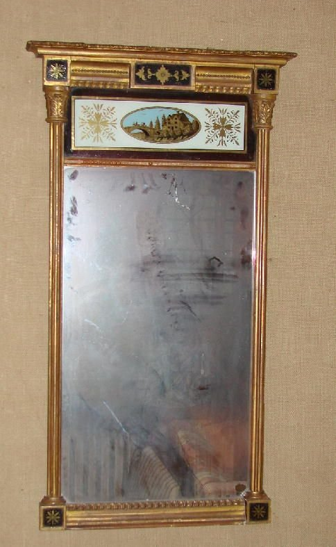4: FEDERAL MIRROR. Gilt architectural mirror with cove
