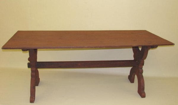 7: TRESTLE TABLE. Pine with old red. Three board top wi