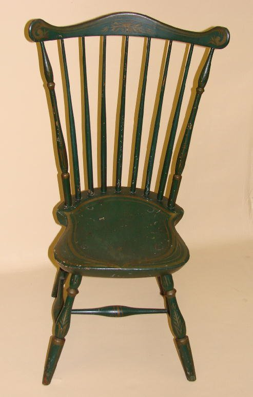 8: PAINTED FANBACK WINDSOR SIDE CHAIR. Green and gold r
