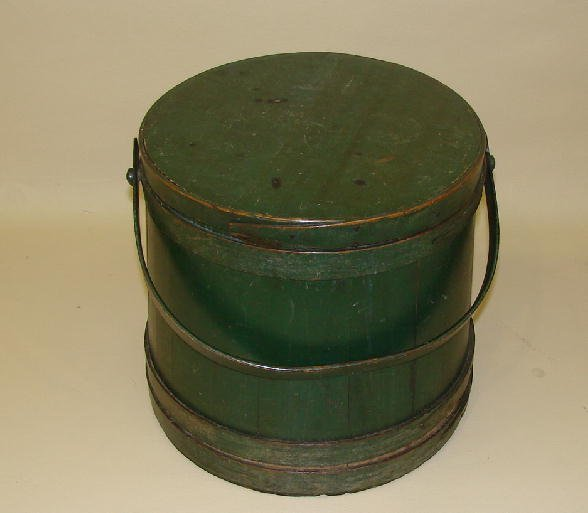 9: PAINTED SUGAR BUCKET. Large covered bucket with stav
