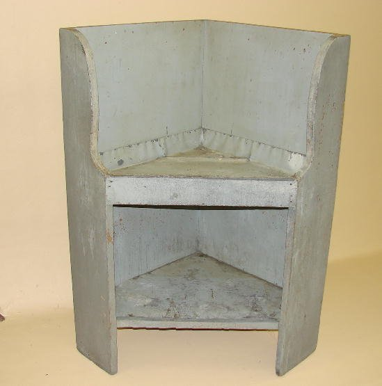 10: PAINTED CORNER DRYSINK. Old grey paint, shaped side