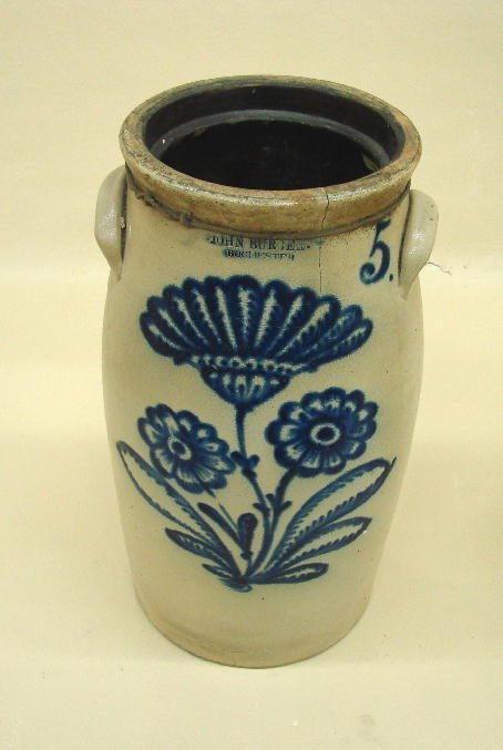 """11: STONEWARE CHURN. Bold flowers and a """"5"""" in hand bru"""