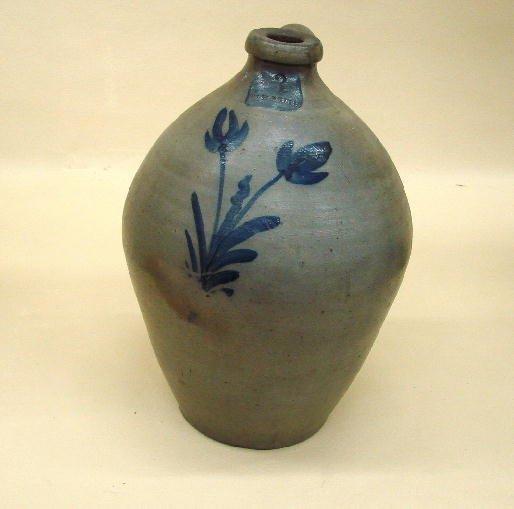12: STONEWARE JUG. Good ovoid form with brushed cobalt