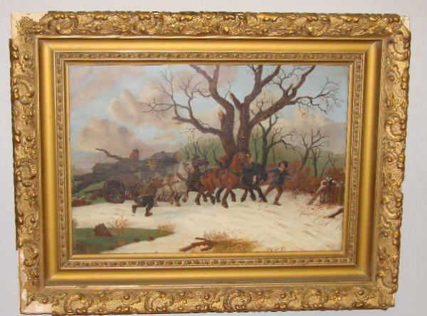 16: OIL PAINTING ON TIN. Country winter scene of a logg