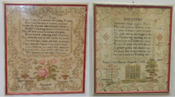 17: TWO FRAMED CANADIAN SAMPLERS. Wool and silk embroid