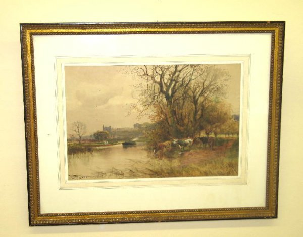 23: WATERCOLOR PAINTING BY FOX. On paper, signed and da
