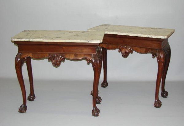 252: PAIR OF CONSOLE TABLES. European. Mahogany. Rectan