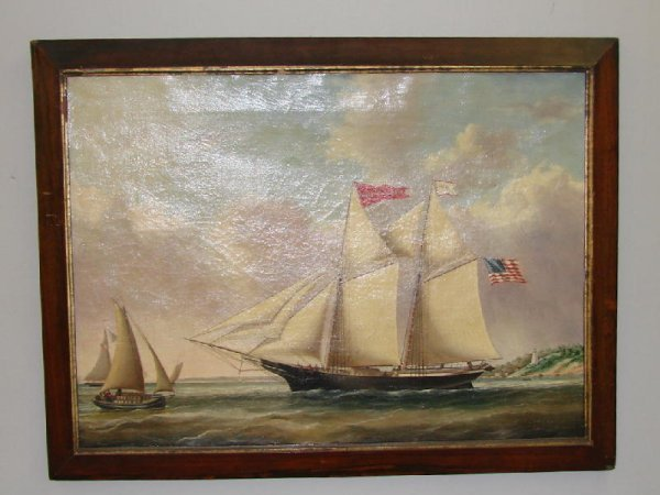 307: MARINE PAINTING. Oil on canvas, unsigned, though c