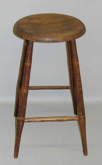 438: WINDSOR TALL STOOL. Scooped round pine seat suppor