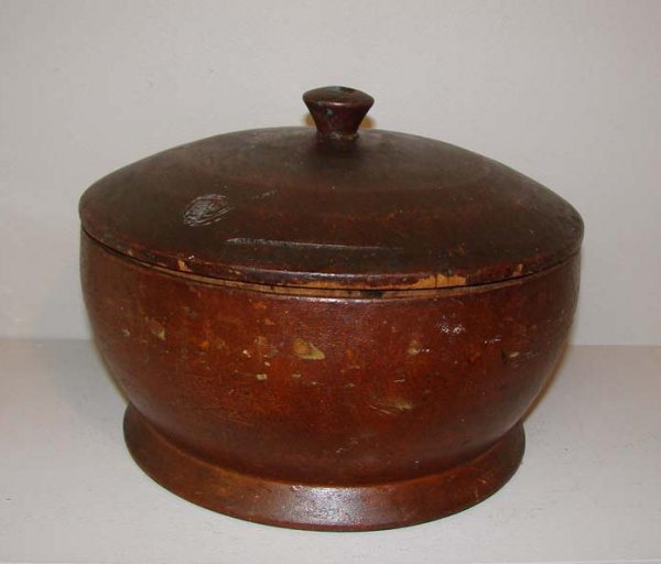 441: TREENWARE COVERED CONTAINER. Bowl shaped with dark