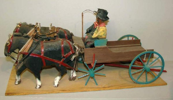442: FOLK ART HORSE DRAWN WAGON. Wood with original pai