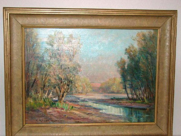 "444: OIL PAINTING BY ""C. KAISER-HERBST"". Colorful lands"