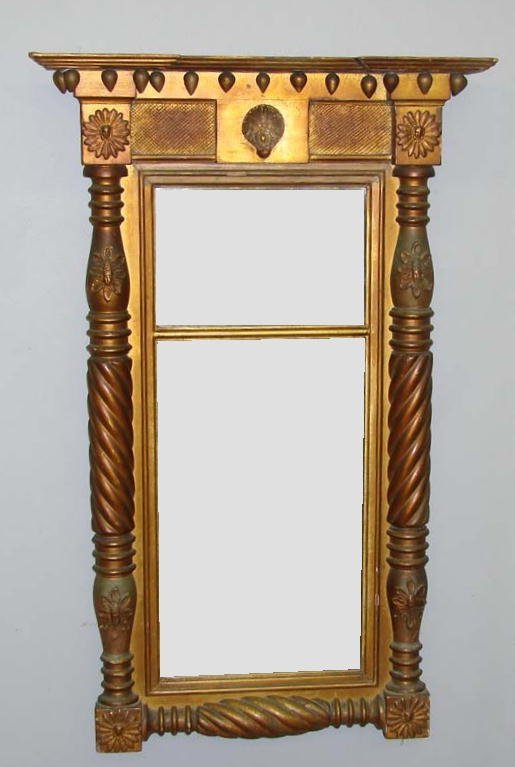 447: FEDERAL GILT MIRROR. Two-part mirror with applied