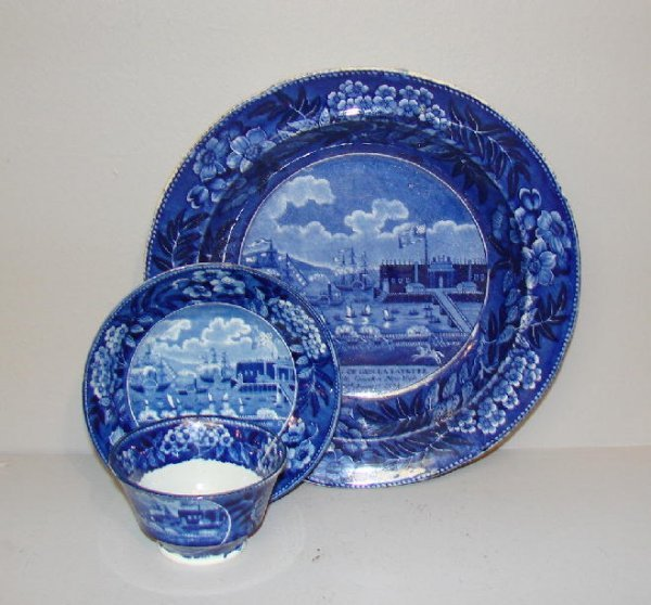 """480: TWO PIECES OF HISTORICAL BLUE STAFFORDSHIRE. """"Land"""