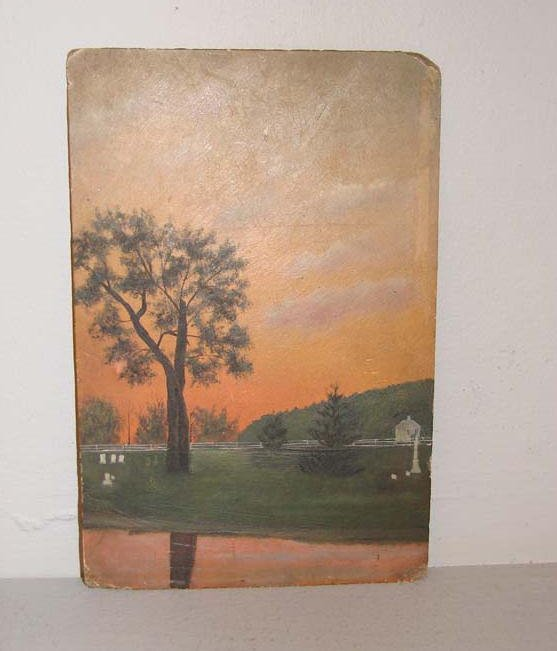 16: OIL PAINTING. Gnadenhutten, Ohio, cemetery with a t